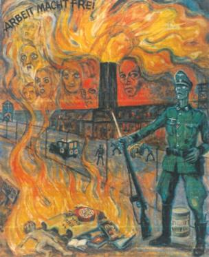Olère painting - SS guard/crematoria/bodies (courtesy of Auschwitz-Birkenau Memorial)