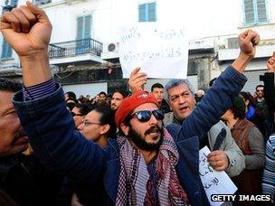 Tunisian protesters, January 2011