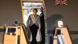 British Prime Minister Theresa May arrives in Buenos Aires for the G20 on November 29, 2018
