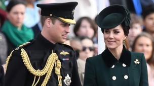 Prince William, Duke of Cambridge and his wife the Duchess of Cambridge attended a St Patrick's Day parade in London with the Irish Guards