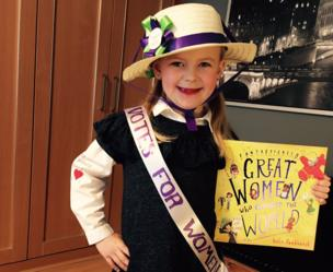 Child dressed as Emmeline Pankhurst for World Book Day