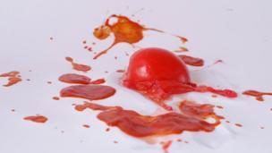 A flattened tomato