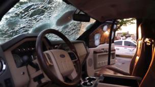 Auto baleado en Culiacán, México