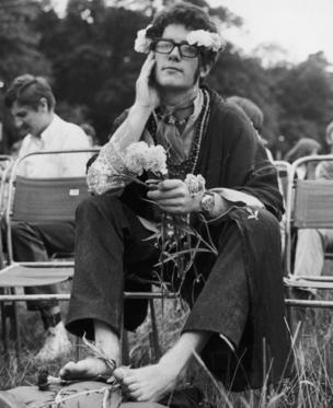 A flower person at Britain's biggest ever love-in, held in the grounds of Woburn Abbey