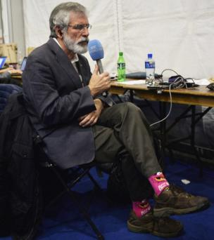 "Sinn Féin leader Gerry Adams's ""Animal"" socks caused a stir on social media"