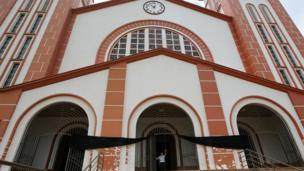 The Santo Antonio Cathedral in Chapeco was draped with a black sash