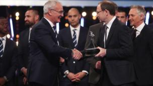 Claudio Ranieri winning Coach of the Year at the 2016 BBC Sports Personality Awards