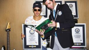 Justin Bieber and Guinness World Record official