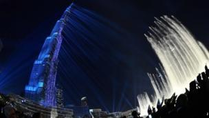 Tahun baru, kembang api, Dubai