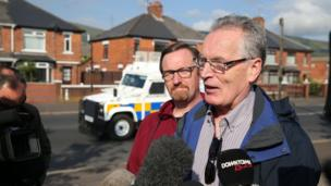 Sinn Féin's Gerry Kelly speaking to press after north Belfast parade passes peacefully, 12 July 2017
