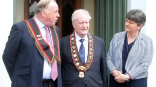The DUP leader Arlene Foster attending the annual Royal Black parade in Scarva with members of the institution, 13 July 2017