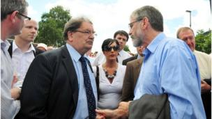 in_pictures John Hume with Gerry Adams during a march in Derry before the release of the findings of the Saville Inquiry into Bloody Sunday