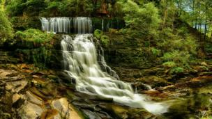 The waterfall at Pontneddfechan in the Brecon Beacons