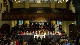 Families held a press conference in the Guildhall
