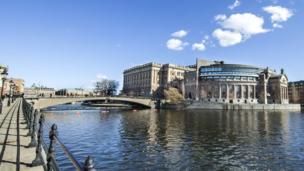 Gedung parlemen Swedia di Stocholm