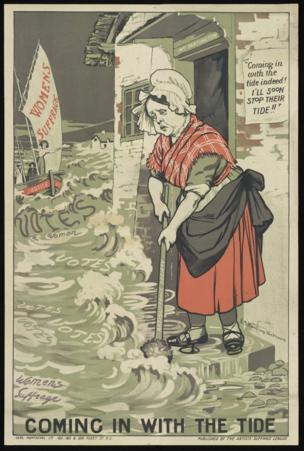 落后势力代表帕廷顿太太用她的拖把横扫、阻止的是对妇女选举权运动如潮水般涌来的支持。
