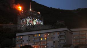 The British Colony of Gibraltar in Spain lit a beacon, as well as projecting images of the Queen.