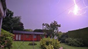 Lightning above a garden in Aberdeen