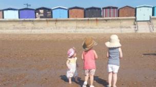 Frinton beach, looking towards beach huts