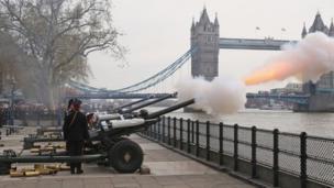 Royal gun salute with Tower Bridge in background