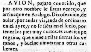 Definición de avión en el diccionario de 1611 del Nuevo tesoro lexicográfico de la lengua española (NTLLE)