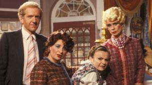 (left to right) Duncan Preston as Clifford, Victoria Wood as Berta, Julie Walters as Mrs Overall and Celia Imrie as Miss Babs in the Acorn Antiques sketch from Victoria Wood - As seen On TV