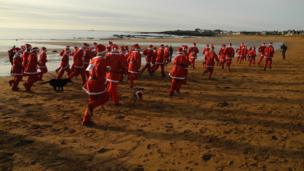 Santa run on Elie beach