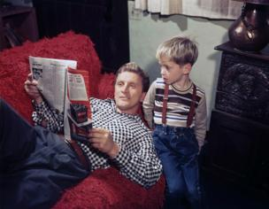 Kirk Douglas with his son Michael in 1949