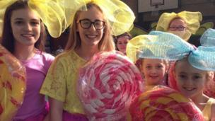 Pastels, lollipops and smiles from this group of young ladies at the Derry parade
