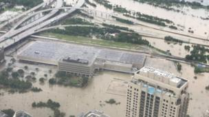 Picture from up show how flood don take over Houston
