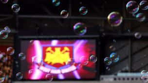 Bubbles are seen before a match between West Ham United and Coventry City