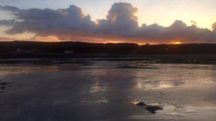 Angela Jones was walking with friends at Port Eynon, South Gower, when she captured this beautiful sunset