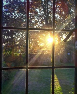 Sunset through a window