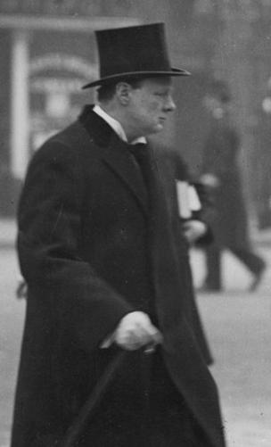 """Winston Churchill on his way to make a speech on the """"Navy question"""" in 1913"""