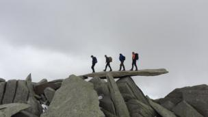 The fab four: Martin Walls captured this Abbey Road inspired scene at the summit plateau of Glyder Fawr, Snowdonia.