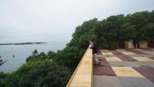 "A view from the terrace of the British pavilion by project ""Island"""