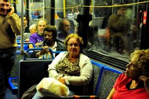 Passengers on a bus in Florida