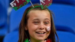 A young Wales supporter at Lyon's Stade des Lumieres