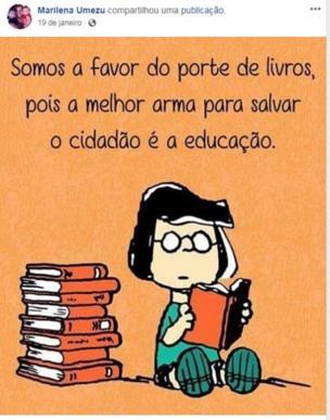 Postagem no Facebook de Marilena. Na imagem, uma personagem de cartoons lê livros. A legenda diz 'somos a favor do porte de livros, pois a melhor arma para salvar o cidadão é a educação'.
