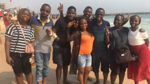 Pipo pose for pictures for Elegushi beach.