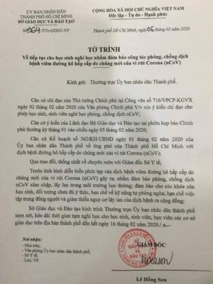 Sở GD-ĐT TP.HCM đã có tờ trình gửi UBND TP.HCM đề xuất tiếp tục cho học sinh nghỉ học