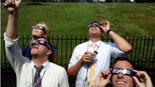 Beyaz Saray muhabirleri de güneş tutulmasını izleme fırsatı buldu.