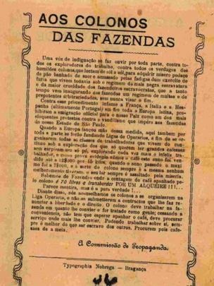 Página envelhecida traz texto longo e título: 'Aos colonos das fazendas'