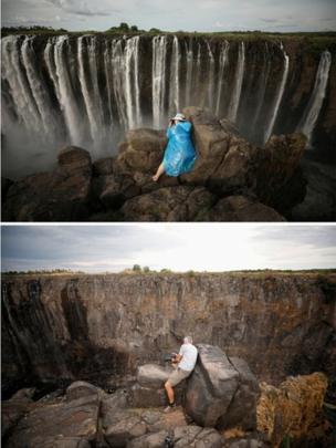 Turistas tiram foto nas cataratas Vitória