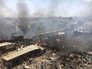 Kenya : incendie a ravagé le marché de Gikomba - Nairobi, l'un des plus grands marchés du pays.