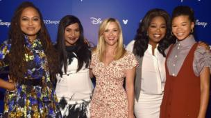 (L-R) Director Ava DuVernay and actors Mindy Kaling, Reese Witherspoon, Oprah Winfrey and Storm Reid.