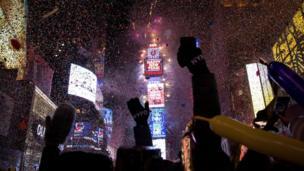 Tahun baru, kembang api, New York