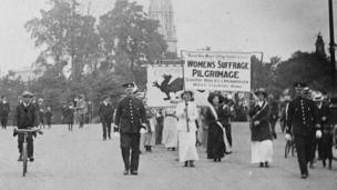 Suffragists from south Wales taking part in the Great Suffrage Pilgrimage, July 1913