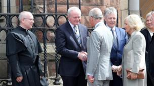 Prince Charles and the Duchess of Cornwall travelled to Northern Ireland for a three day trip. The royal couple visited St Patrick's Church in Belfast's Donegall Street where they were greeted by Sinn Féin's Martin McGuinness and the DUP's Peter Robinson.