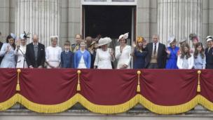 Members of the royal family, including Camilla, Duchess of Cornwall (C) and Catherine, Duchess of Cambridge